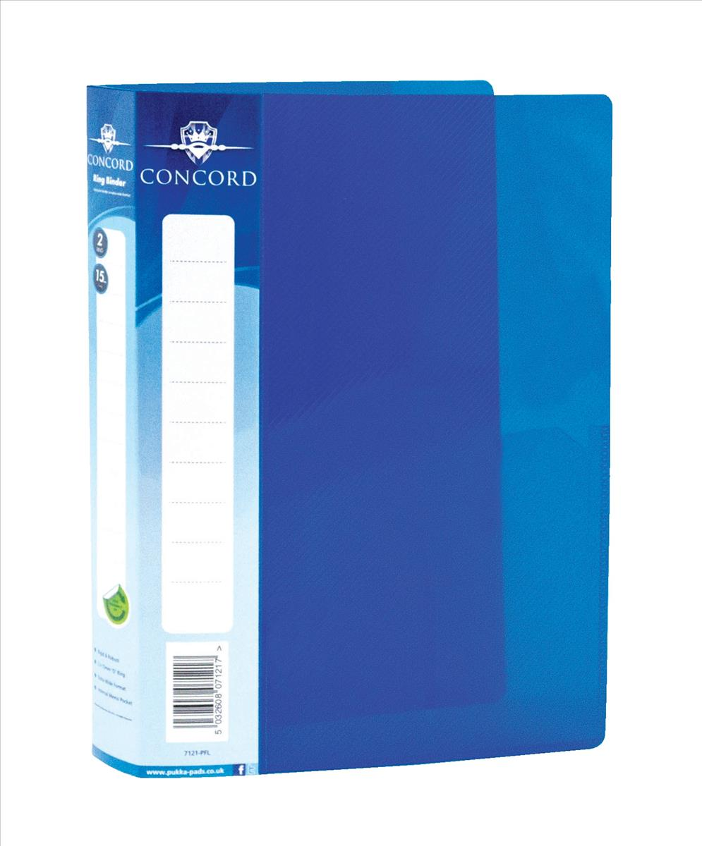 Concord Vibrant Ring Binder A5 Polypropylene 2 O-Ring 15mm Blue Pack 10