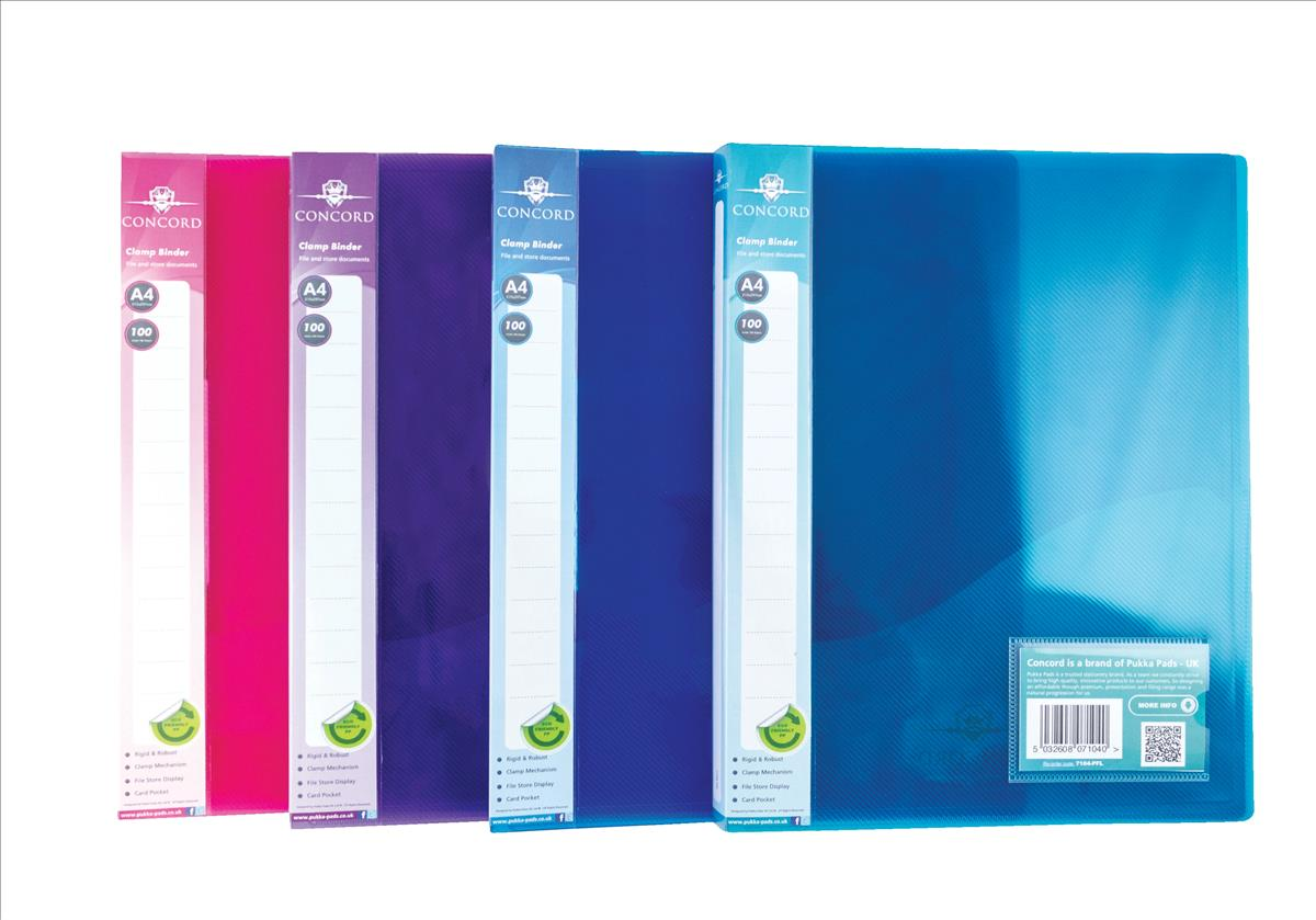 Concord Clamp Binder Polypropylene 75 micron 100 Sheet Capacity A4 Assorted Ref 7104-PFL [Pack 10]