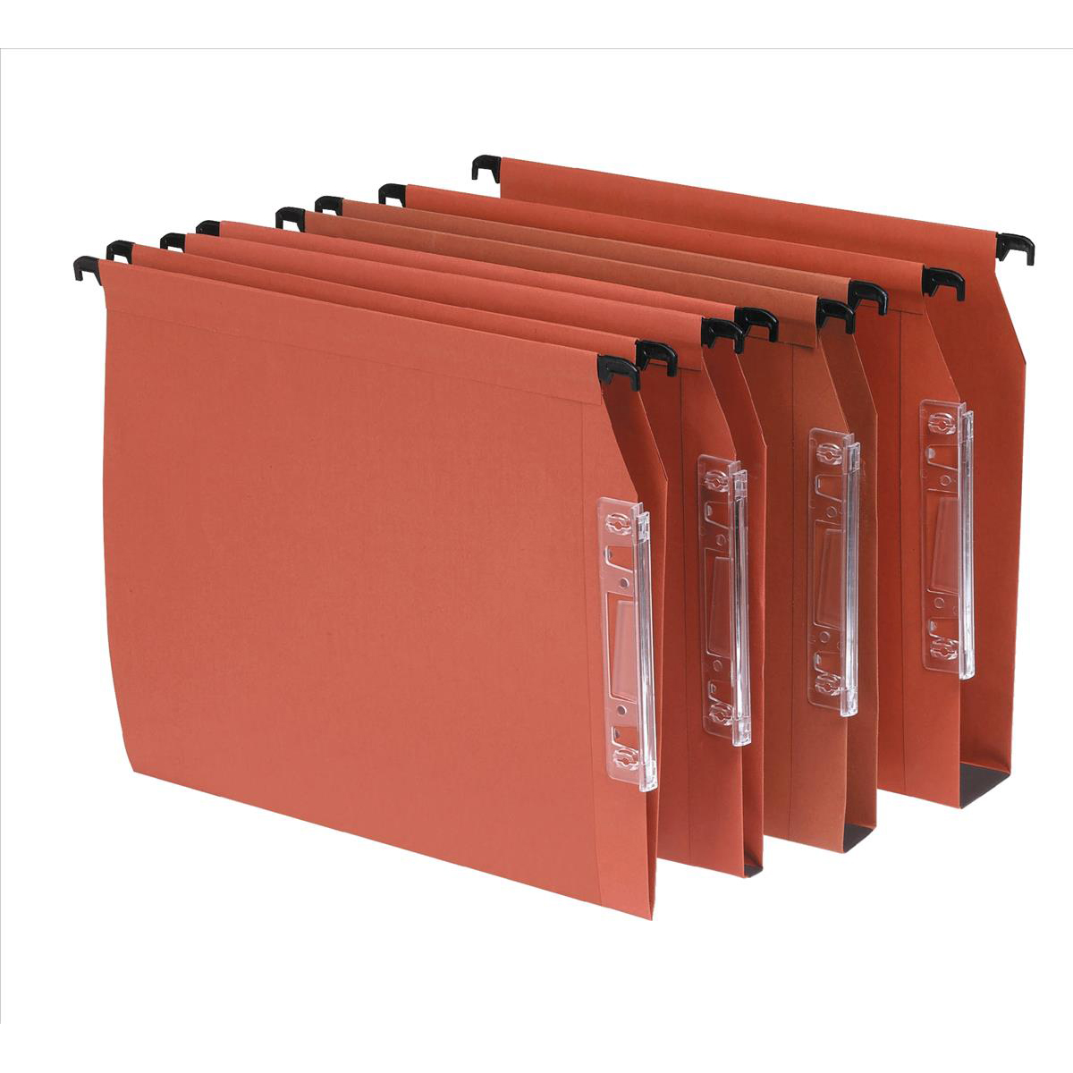 Bantex Linking Lateral File Kraft 50mm Wide-base 210gsm Foolscap Orange Ref 100330745 [Pack 25]