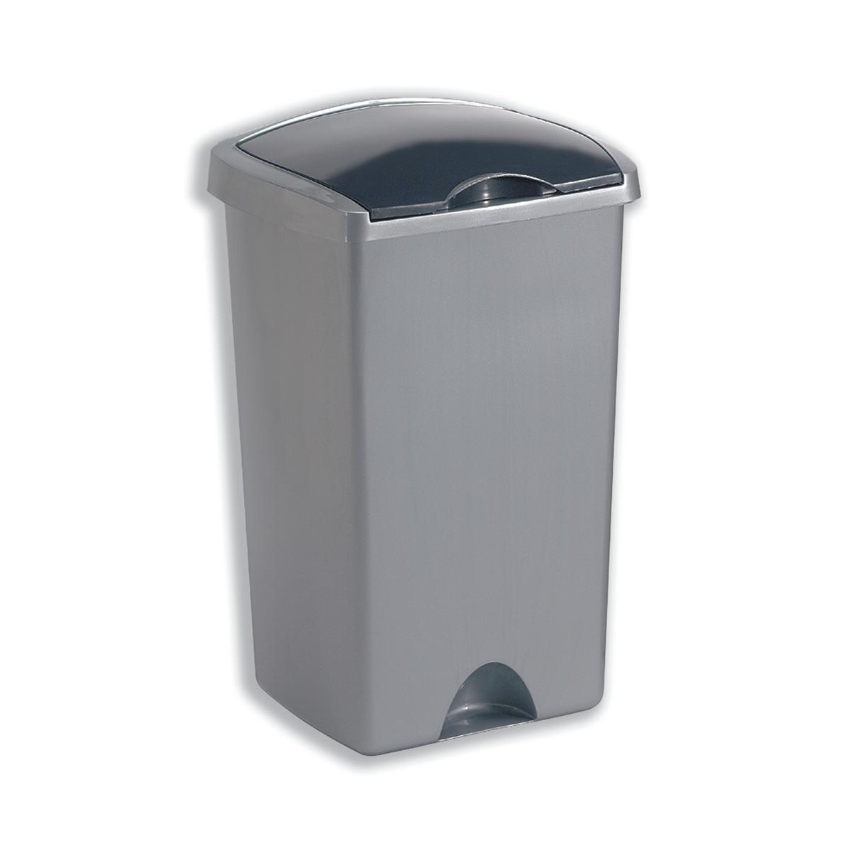Addis Lift Up Lid Bin Plastic 50 Litres Metallic Silver Ref