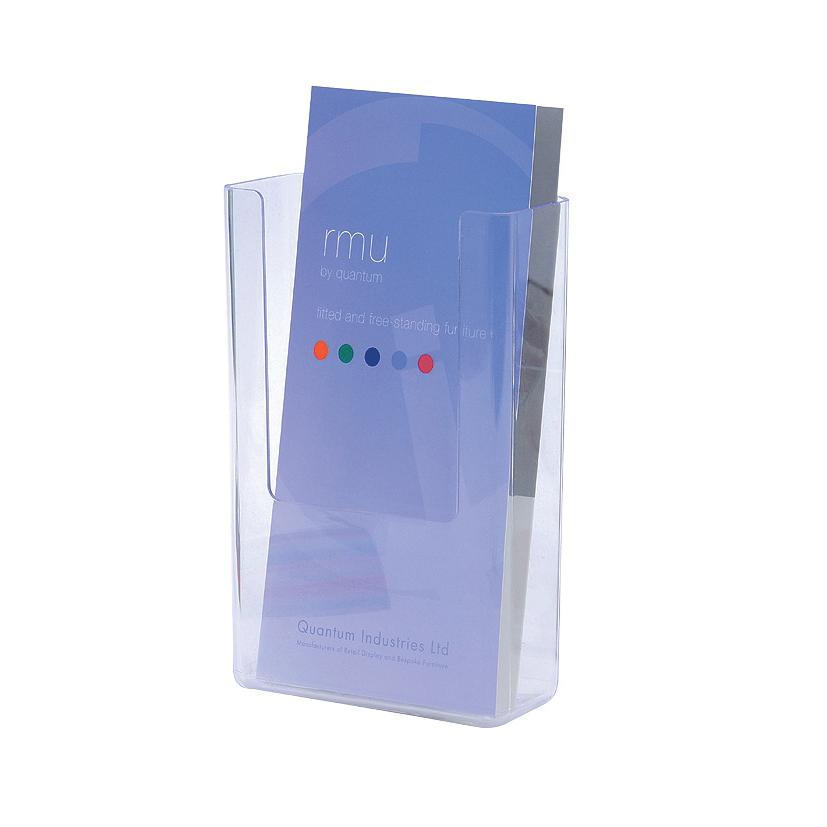Flatback Literature Holder Wall Mounted Single Pocket Portrait 1/3xA4 Clear