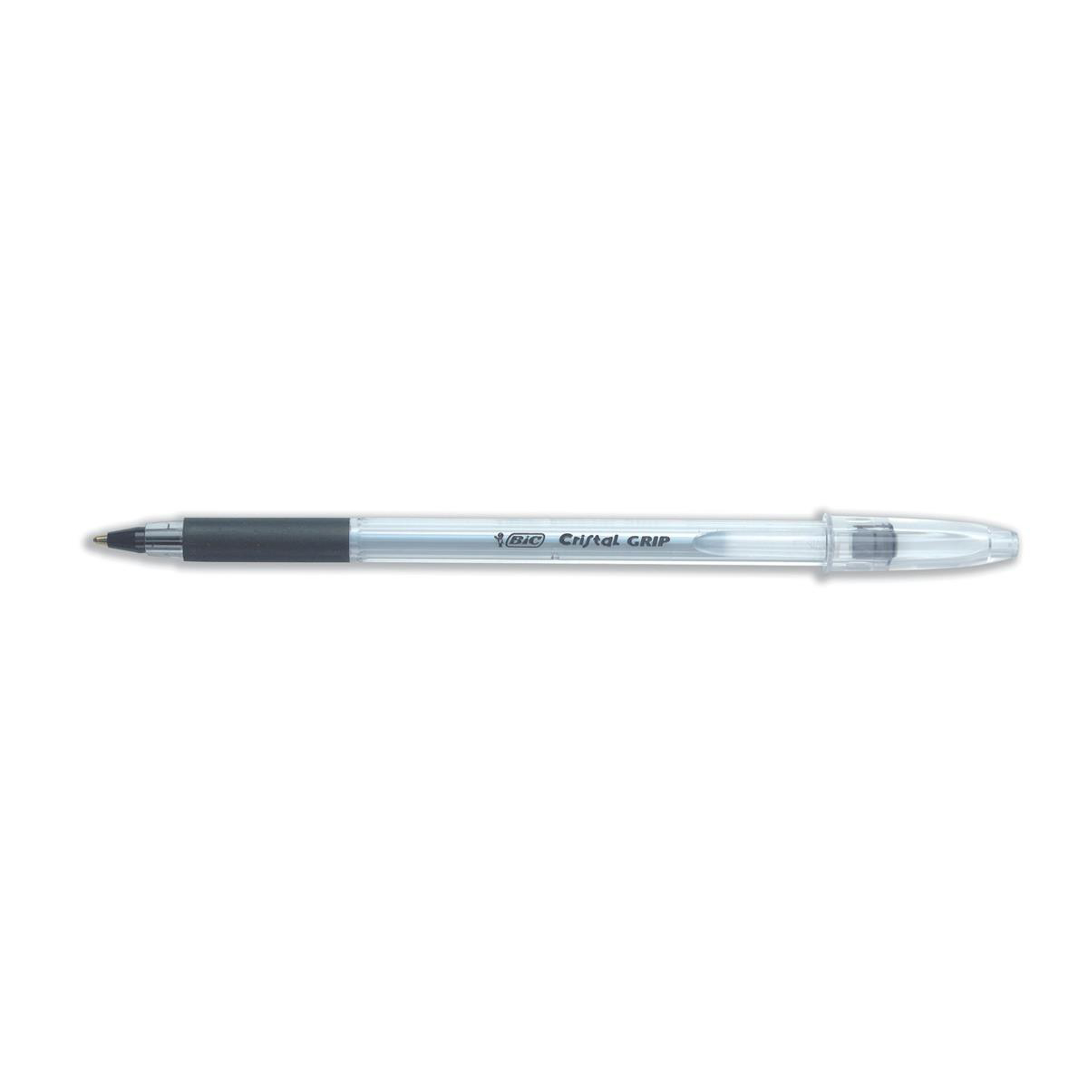 Bic Cristal Grip Ball Pen Clear Barrel Black Ref 802800 [Pack 100] [Bulk Pack] Jan-Dec 2018