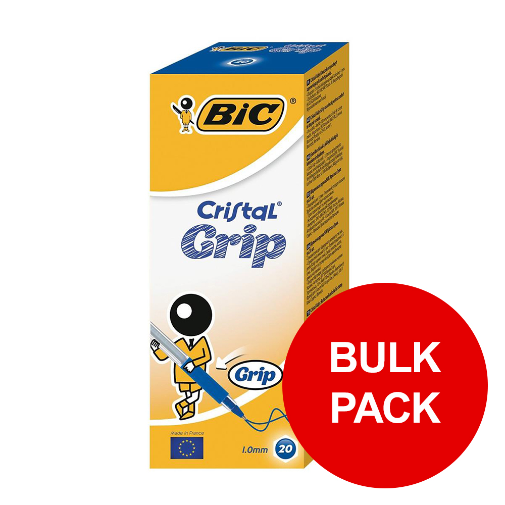 Bic Cristal Grip Ball Pen Clear Barrel Blue Ref 802801 [Pack 100] [Bulk Pack] Jan-Dec 2019