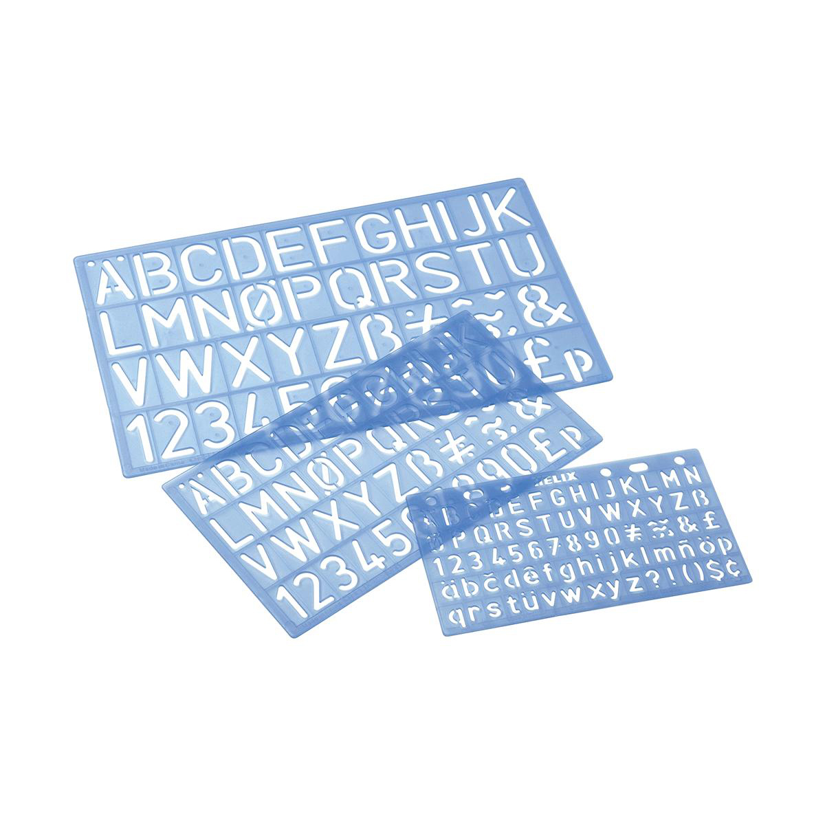 Stencil Pack of Letters/Numbers/Symbols with PVC Sleeve Various Sizes Blue Tint