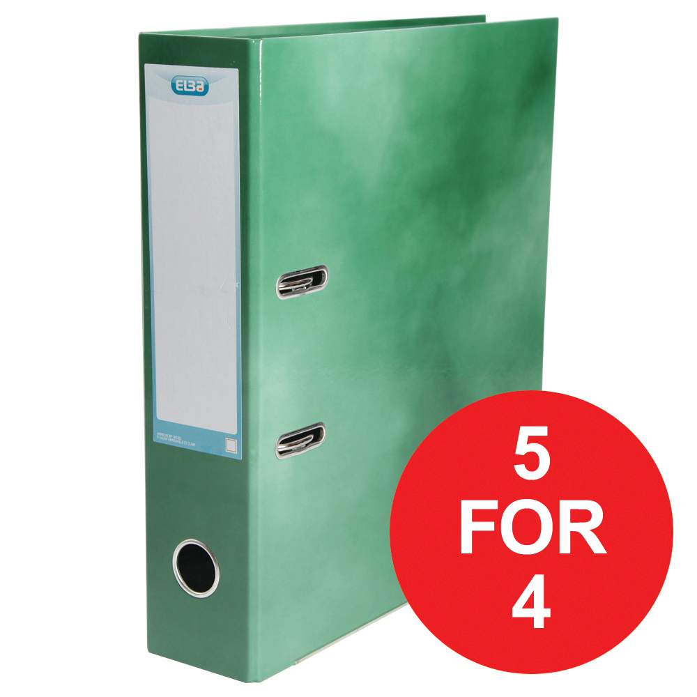 Elba Lever Arch File Laminated Gloss Finish 70mm Capacity A4+ Green Ref 400021005 [5 For 4] Jan-Dec 2018