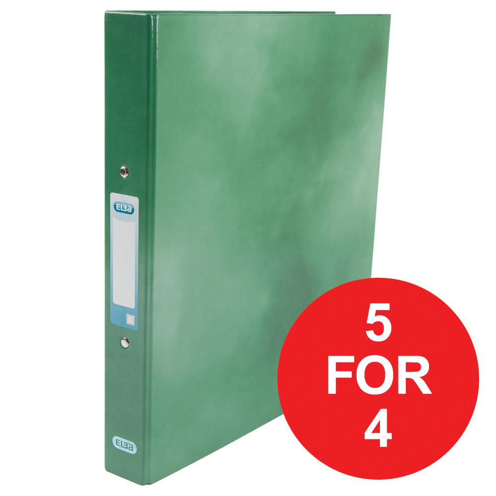 Elba Ring Binder Laminated Gloss Finish 2 O-Ring 25mm A4 plus Green Ref 400017756 [5 For 4] Jan-Dec 2018