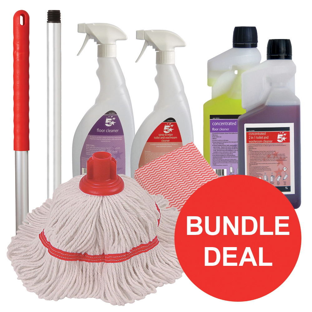 5 Star Facilities Washroom Cleaning Bundle with Mop/Cloths/Cleaning Fluids [Bundle Offer]