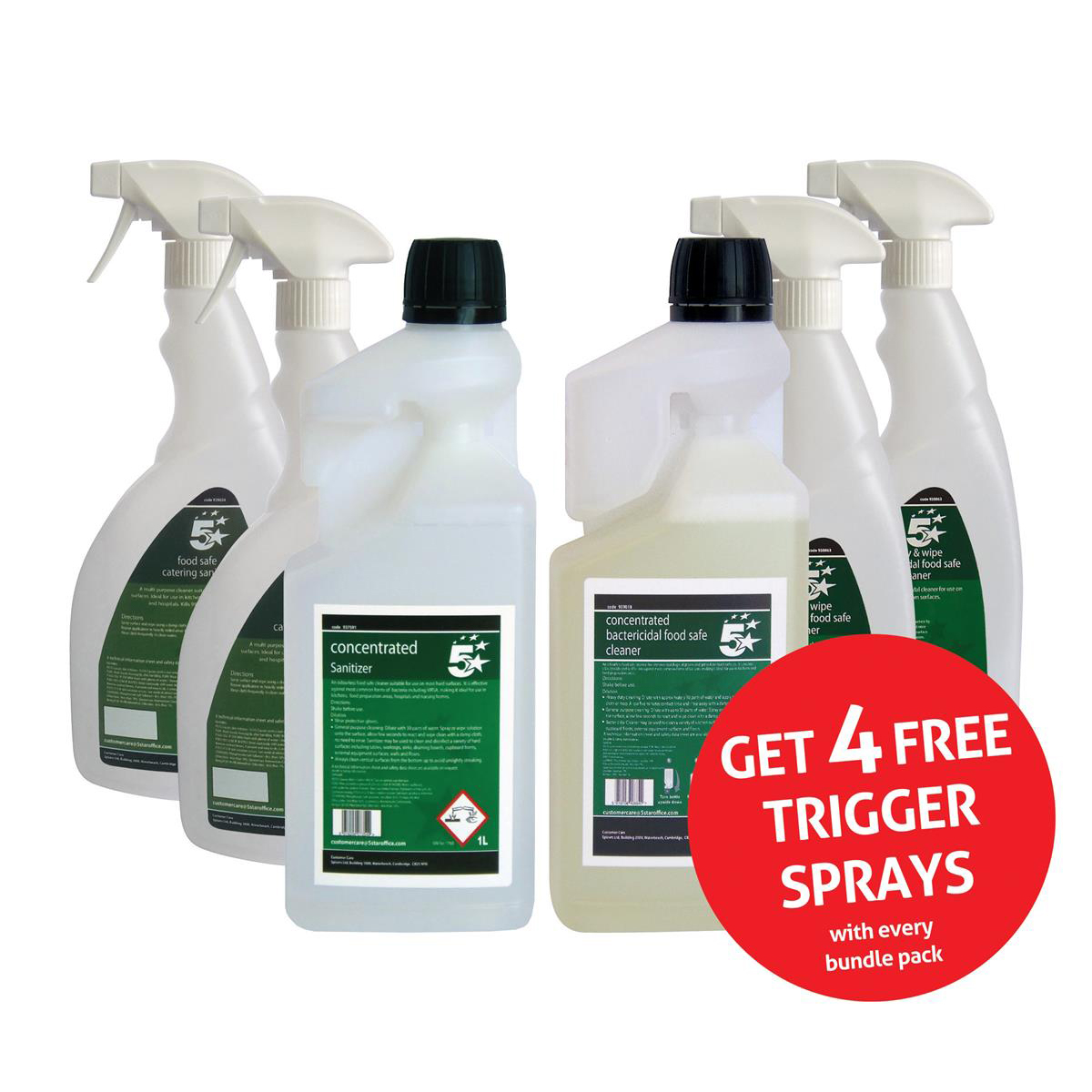 5 Star Facilities Food Safe Sanitiser & Bactericidal Cleaner 1 Litre [FREE 750ml Trigger Bottles]