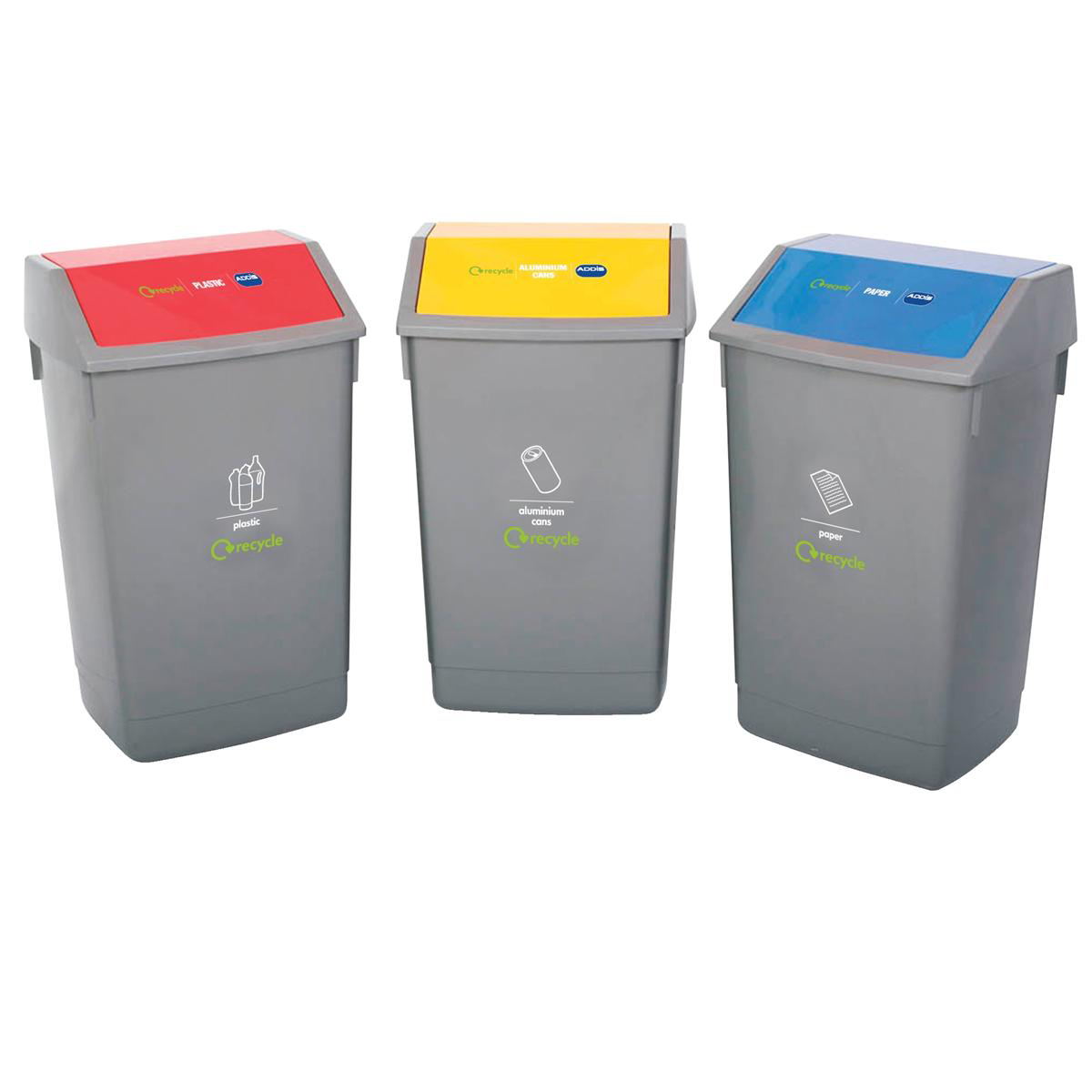 Recycle Bin Kit 3x 60 Litre Bins with Colour Coded Lids Flip Top Ref 505576 [Pack 3]