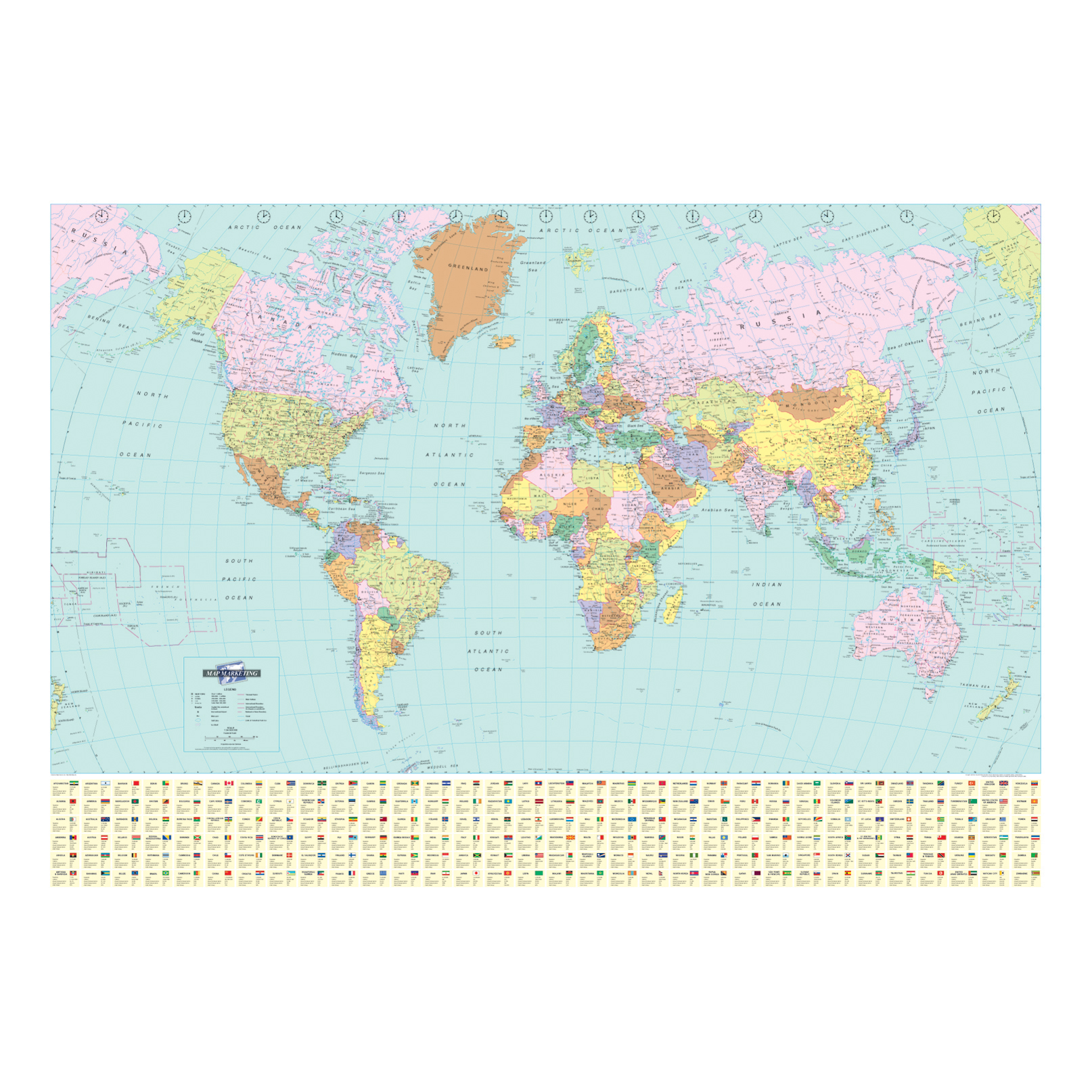 Image for Map Marketing World Political Map Unframed 537 Miles to 1 inch Scale W1200xH830mm Ref BEX