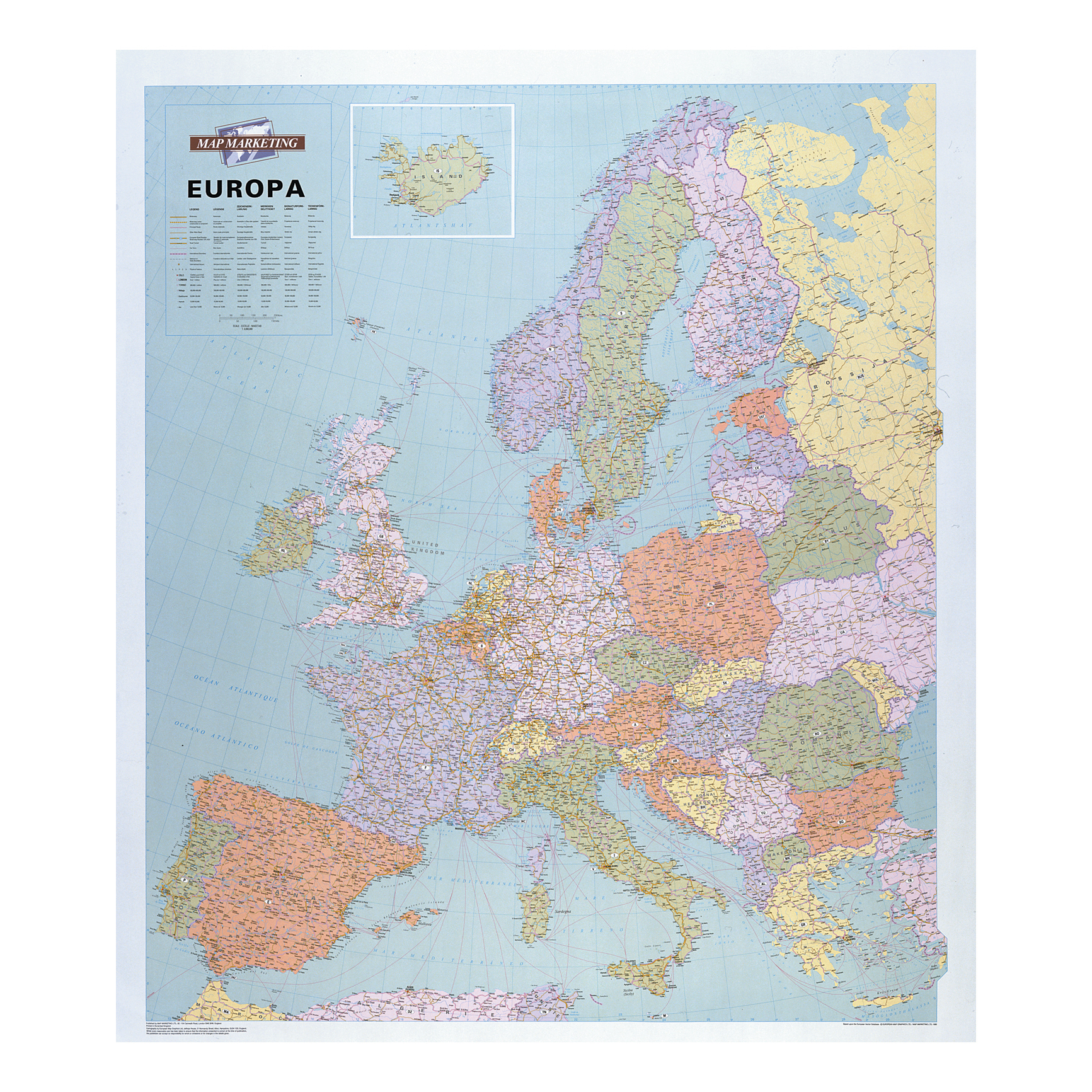 Map Marketing Europa Political Map Unframed 64 Miles to 1 inch Scale 990x1010mm Ref WEURP