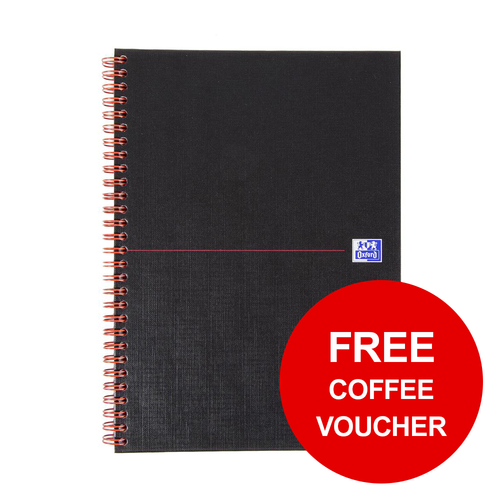 Black n Red Book Hard Back Cover Twin Wirebound 90gsm 140pp B5 [FREE Coffee] Jan-Feb 2019