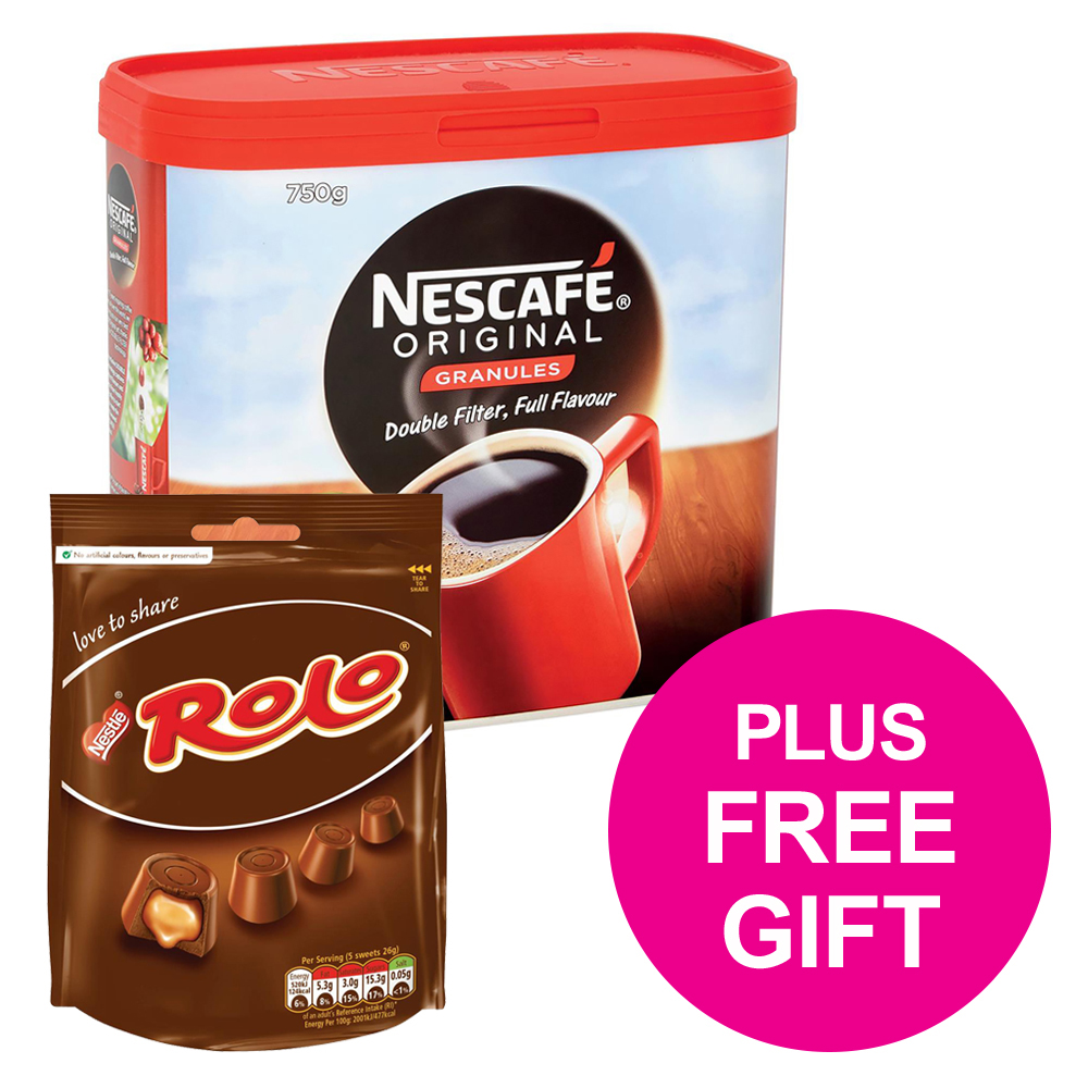 Nescafe Original Instant Coffee Granules Tin 750g Ref 12283921 [FREE Rolos x4] Jul-Sep 2018