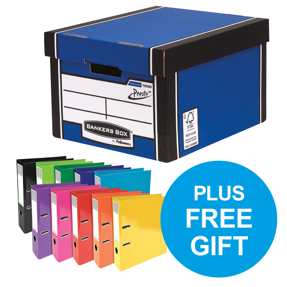 Bankers Box Premium Classic Blue FSC Ref 7250603 [Pack 12] [x2 & FREE Lever Arch] Oct-Dec 2018