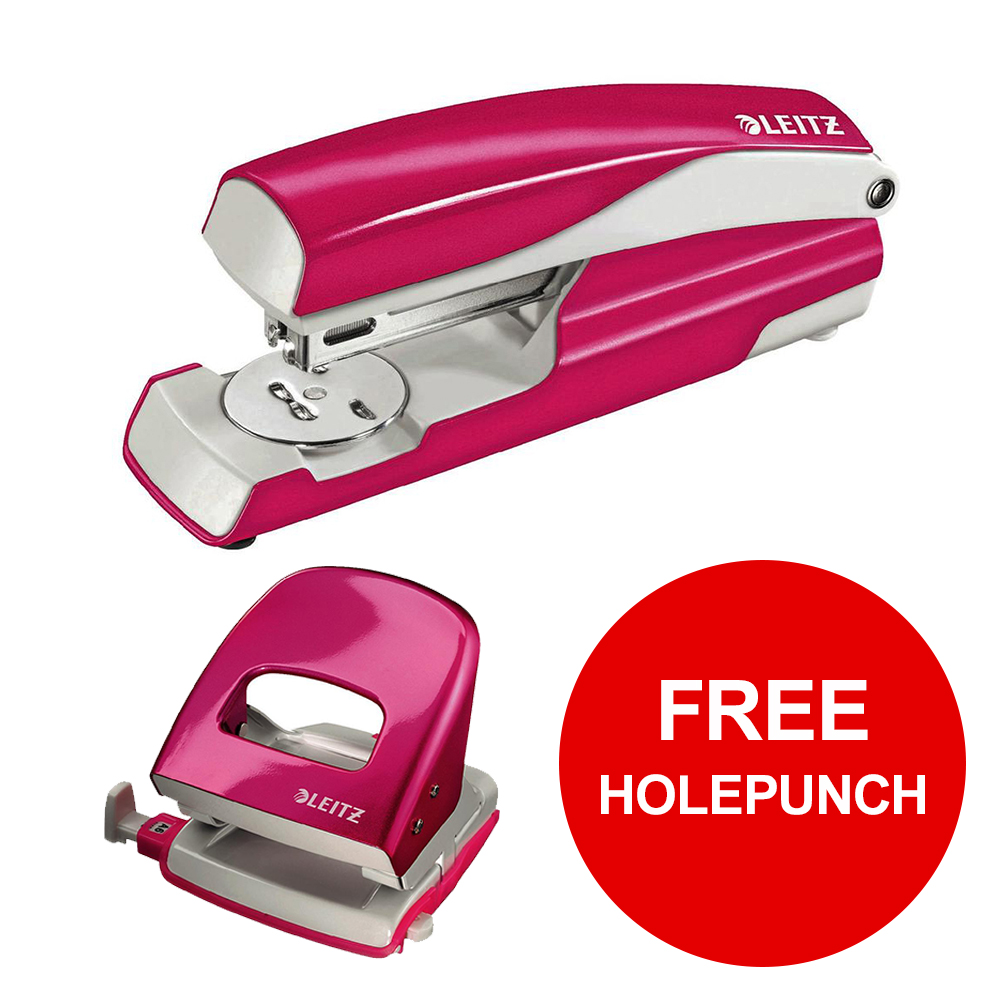Leitz NeXXt WOW Stapler 3mm 30 Sheet Pink Ref 55021023L [FREE Holepunch] Jan-Mar 2019