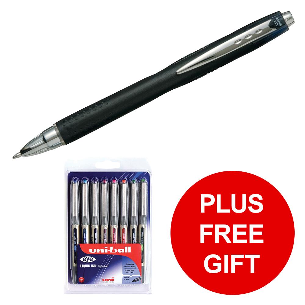 Uni-ball Jetstream RT Rollerball Pen 1.0mm Tip Black Ref 789099000 [Pack 12] [FREE Gift] Jan-Mar 2019