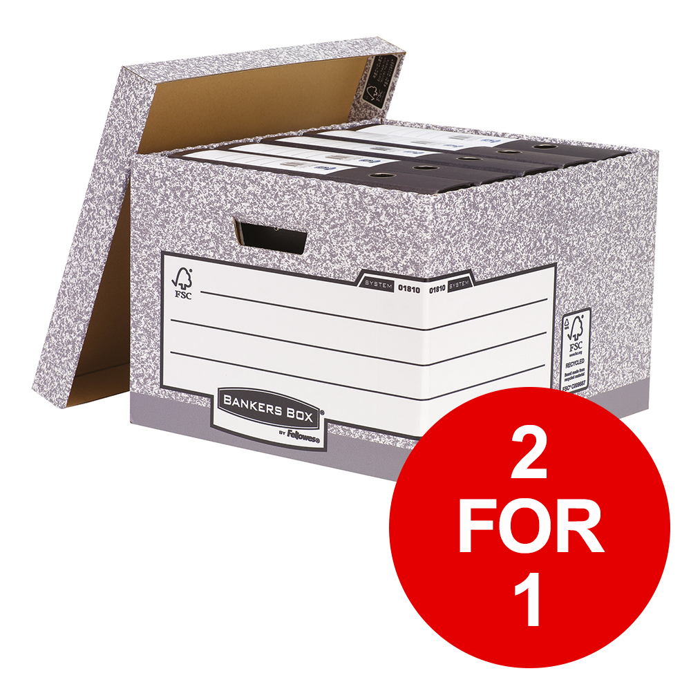 Bankers Box by Fellowes System Large Storage Box FSC Ref 01810-FF [Pack 10] [2 for 1] Jan-Mar 2019