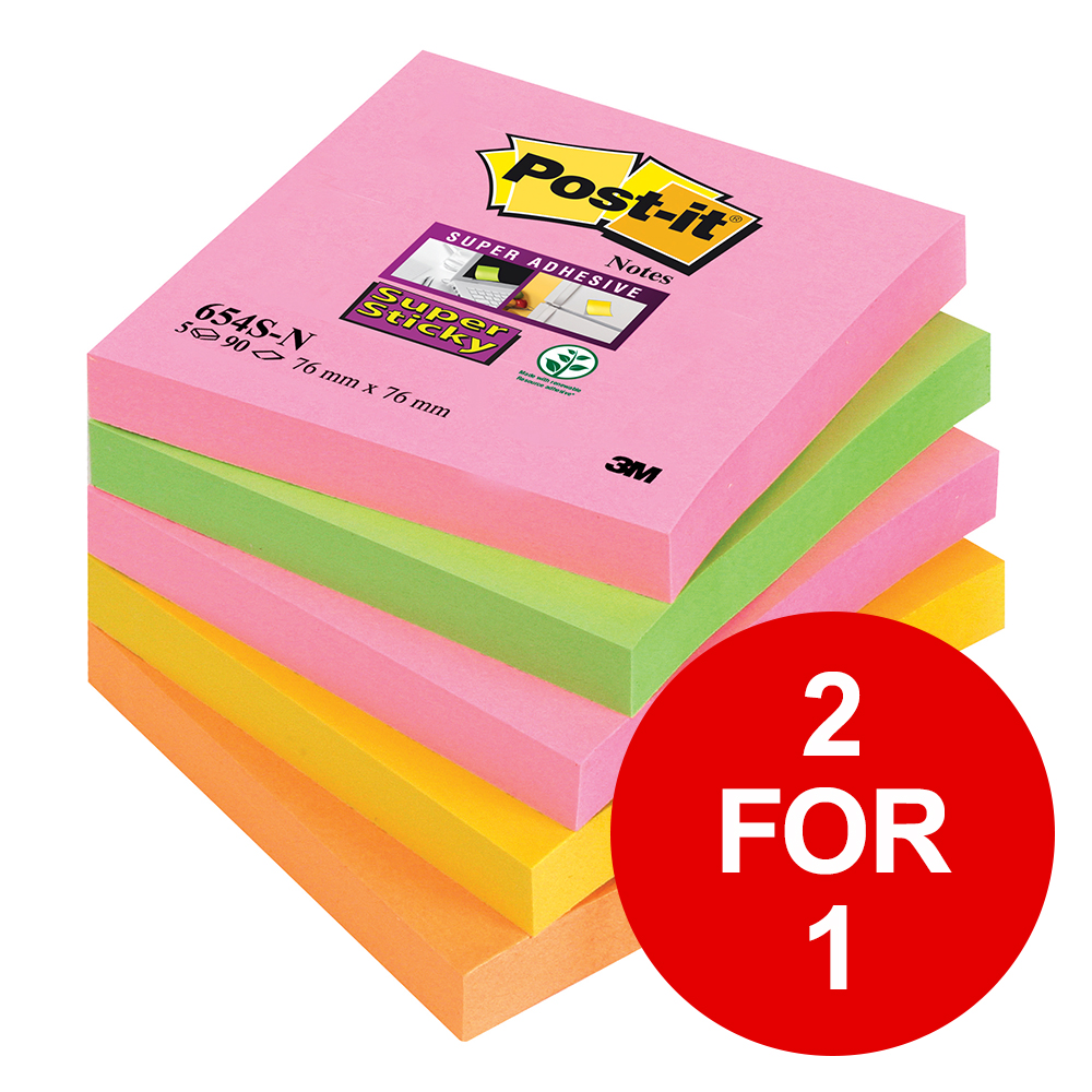 Post-it Super Sticky Notes 76x76mm Capetown Rainbow Ref 654SN [Pack 5] [2 for 1] Jan-Mar 2019