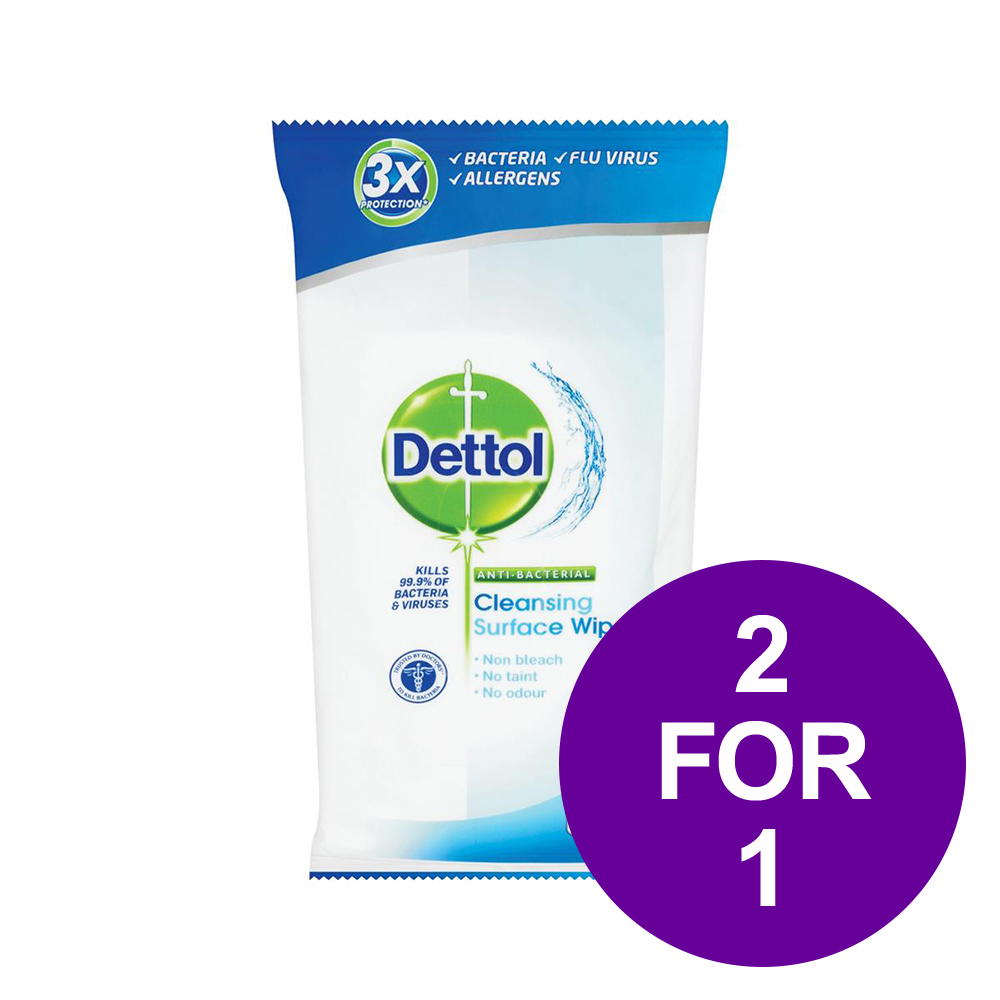 Dettol Antibacterial Surface Cleaning Wipes Ref 3007228 [Pack 84] [2 For 1] Apr-Jun 2019