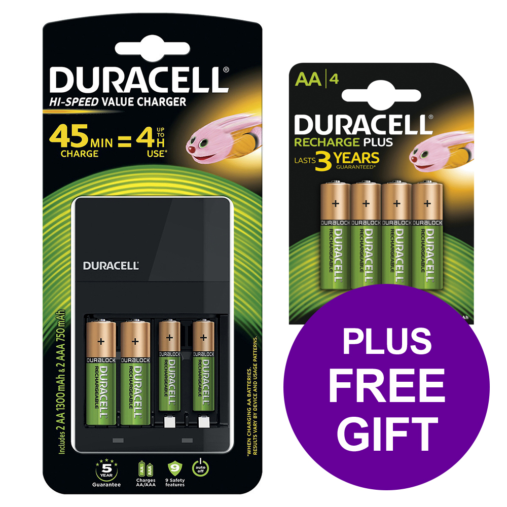 Duracell Battery Charger Hi Speed for AA/AAA Ref 81528873 [FREE AA Battery Pack 4] [Apr-Jun 2019]