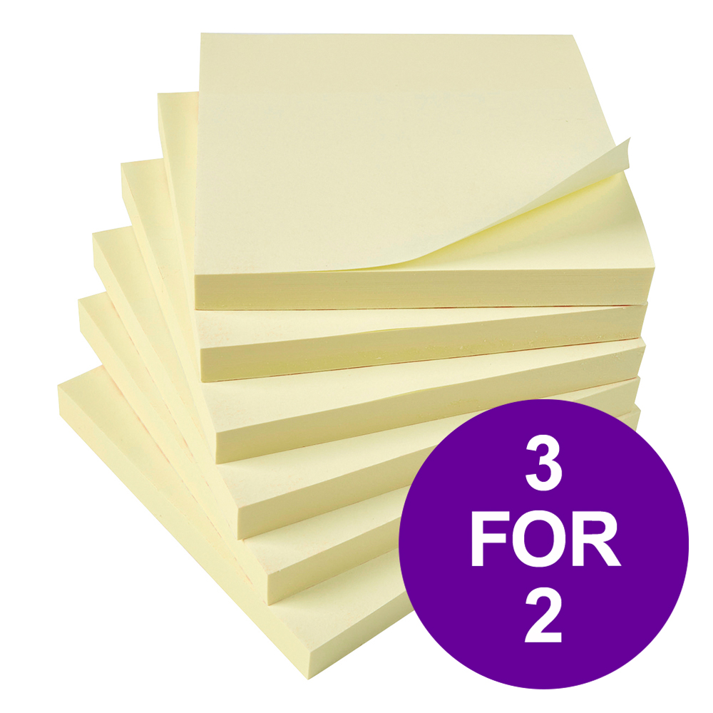 5 Star Office Extra Sticky Re-Move Notes Pad of 90 Sheets 76x76mm Yellow [Pack 12] [3 For 2] Apr 2019