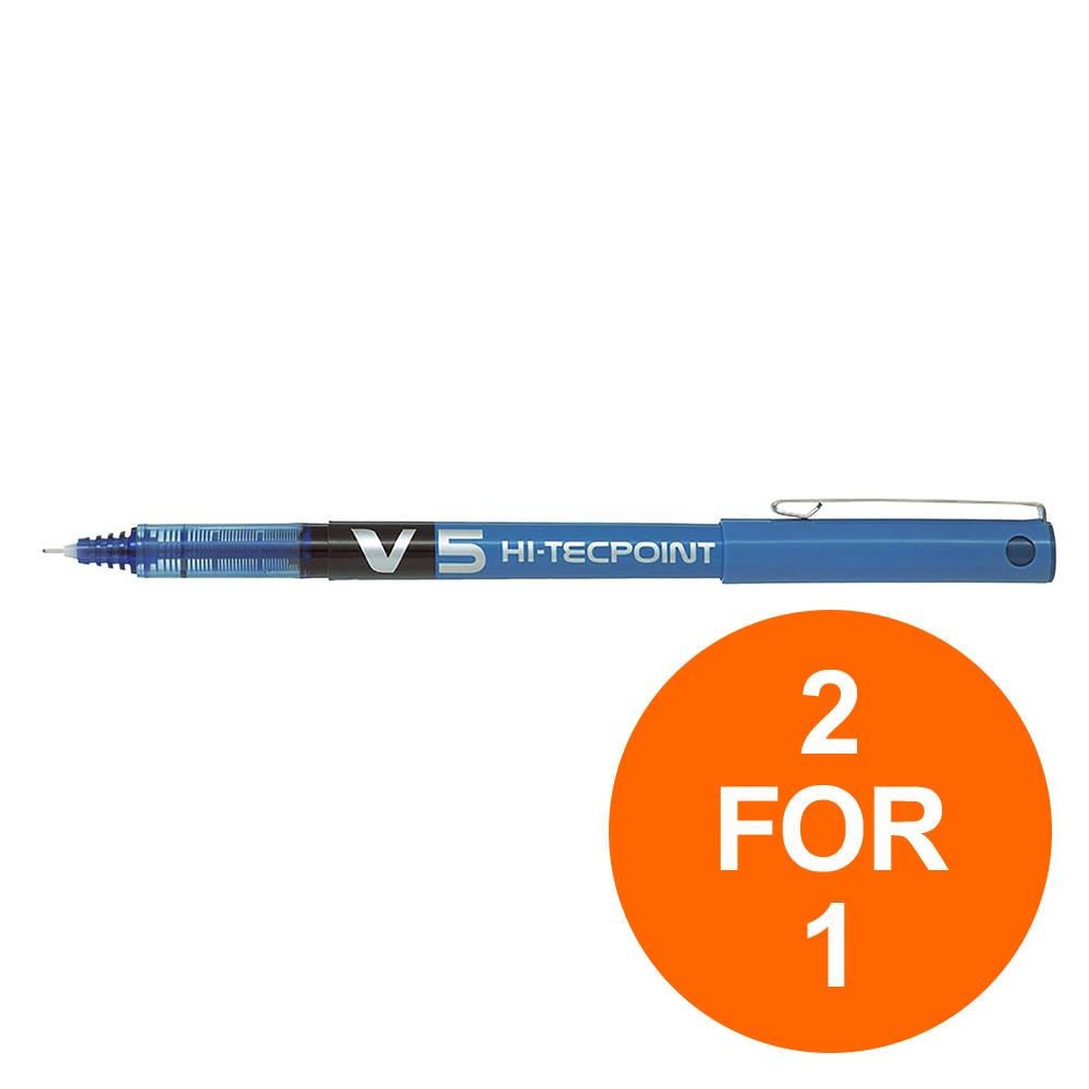 Pilot V5 Hi-Tecpoint Rollerball Pen Liquid Ink 0.5mm Tip Blue Ref V503 [Pack 12] [2 For 1] Jul-Sept 2019