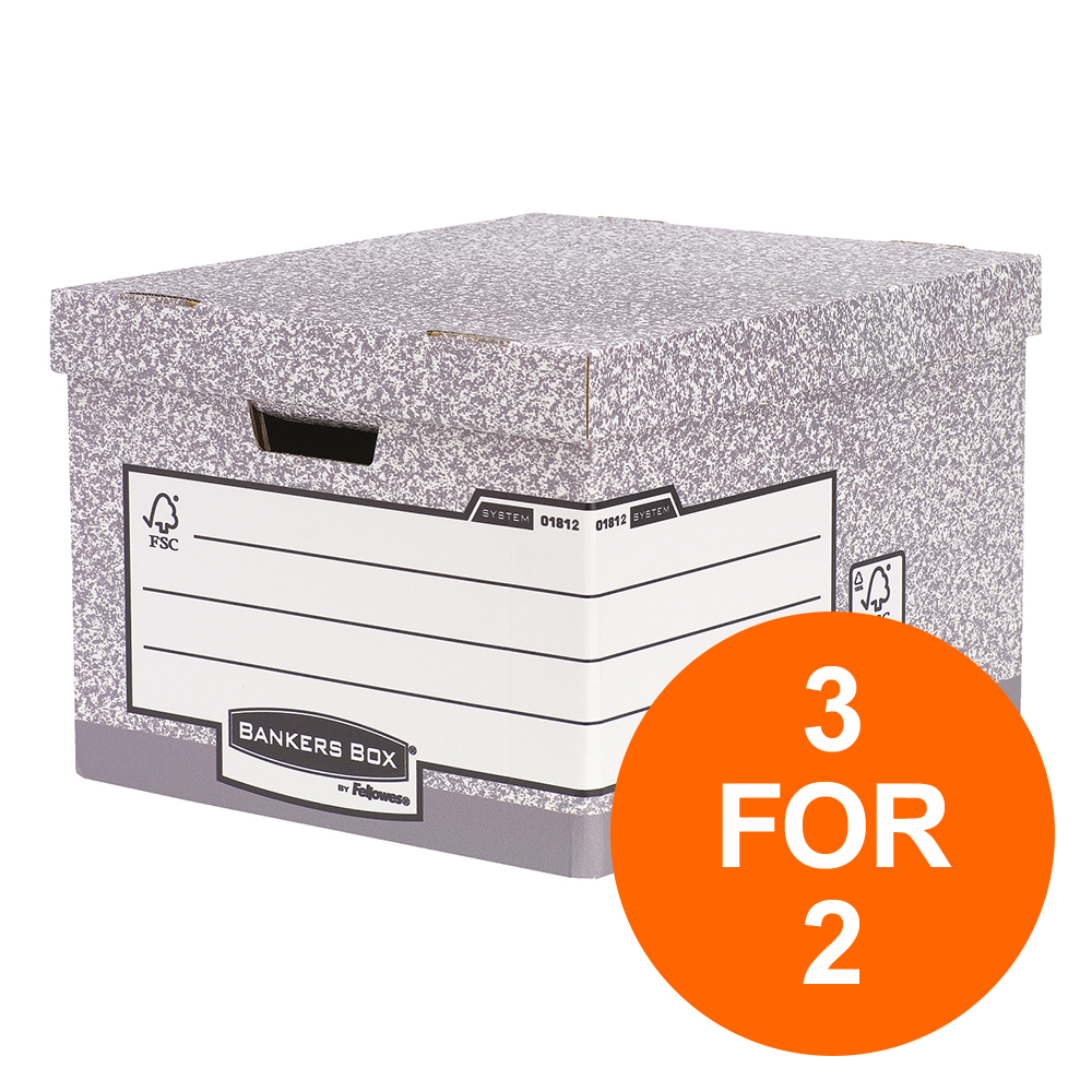 Bankers Box by Fellowes Heavy Duty Large Storage Box FSC Ref 181201 [Pack 10] [3 For 2] Jul-Sept 2019