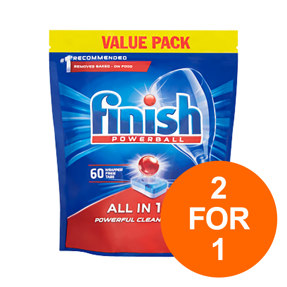 Finish Dishwasher Powerball Tablets All-in-1 Ref RB797730 [Pack 60] [2 for 1] Jul-Sept 19