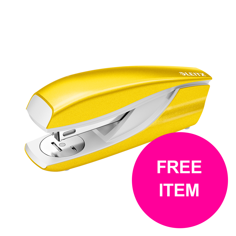 Leitz NeXXt 30 Sh Stapler Yellow Ref 55021016 [FREE Leitz NeXXt Hole Pnch 30 Sh Yellow] Jan-Mar 20