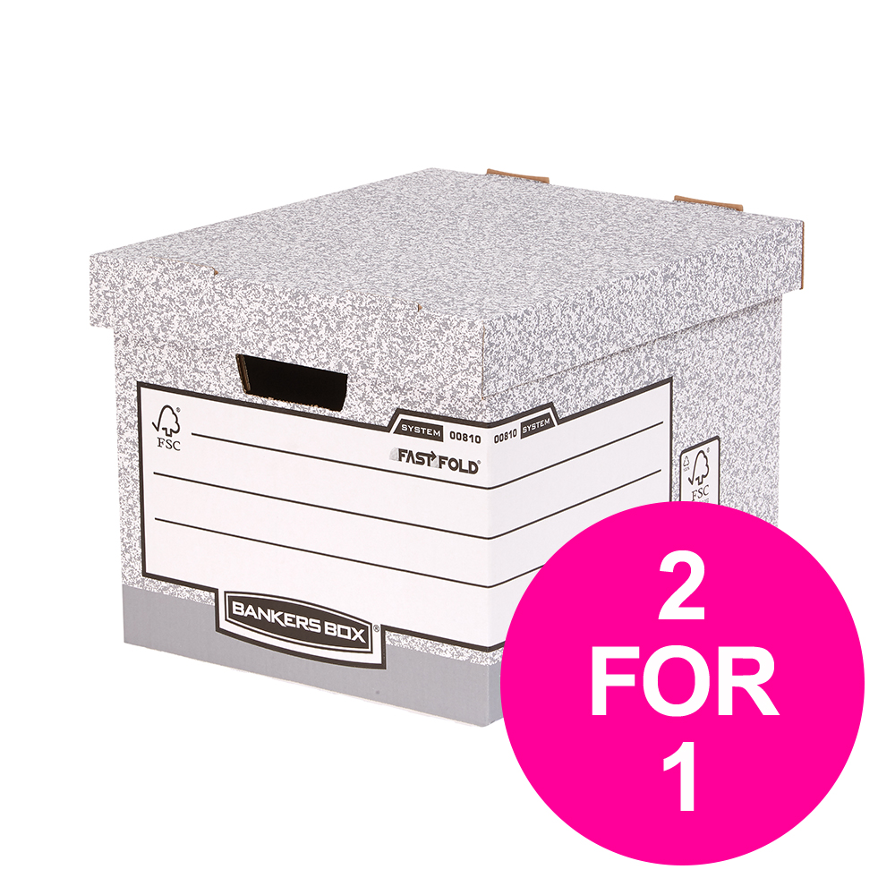 Bankers Box by Fellowes Standard Storage Box Foolscap FSC Ref 00810-FF [Pack 10] [2 for 1] Jan-Mar 20