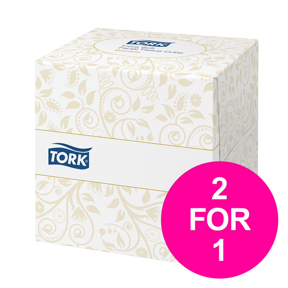 Tork Facial Tissues Cube 2 Ply 100 Sheets White Ref 140278 [Pack 30] [2 for 1] Jan-Mar 2020