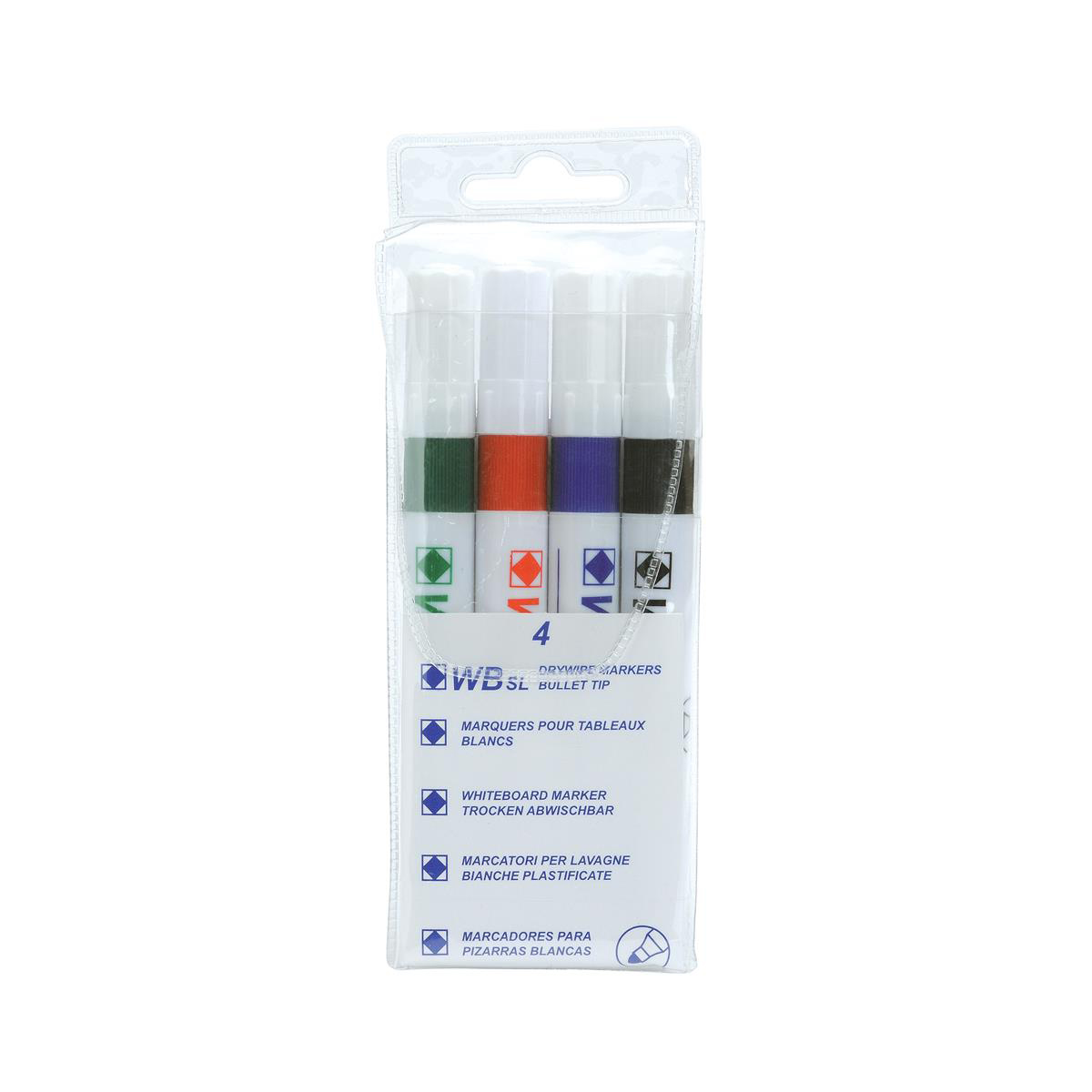 White Box Strategy SL Dry Wipe Markers Assorted [Pack 4]