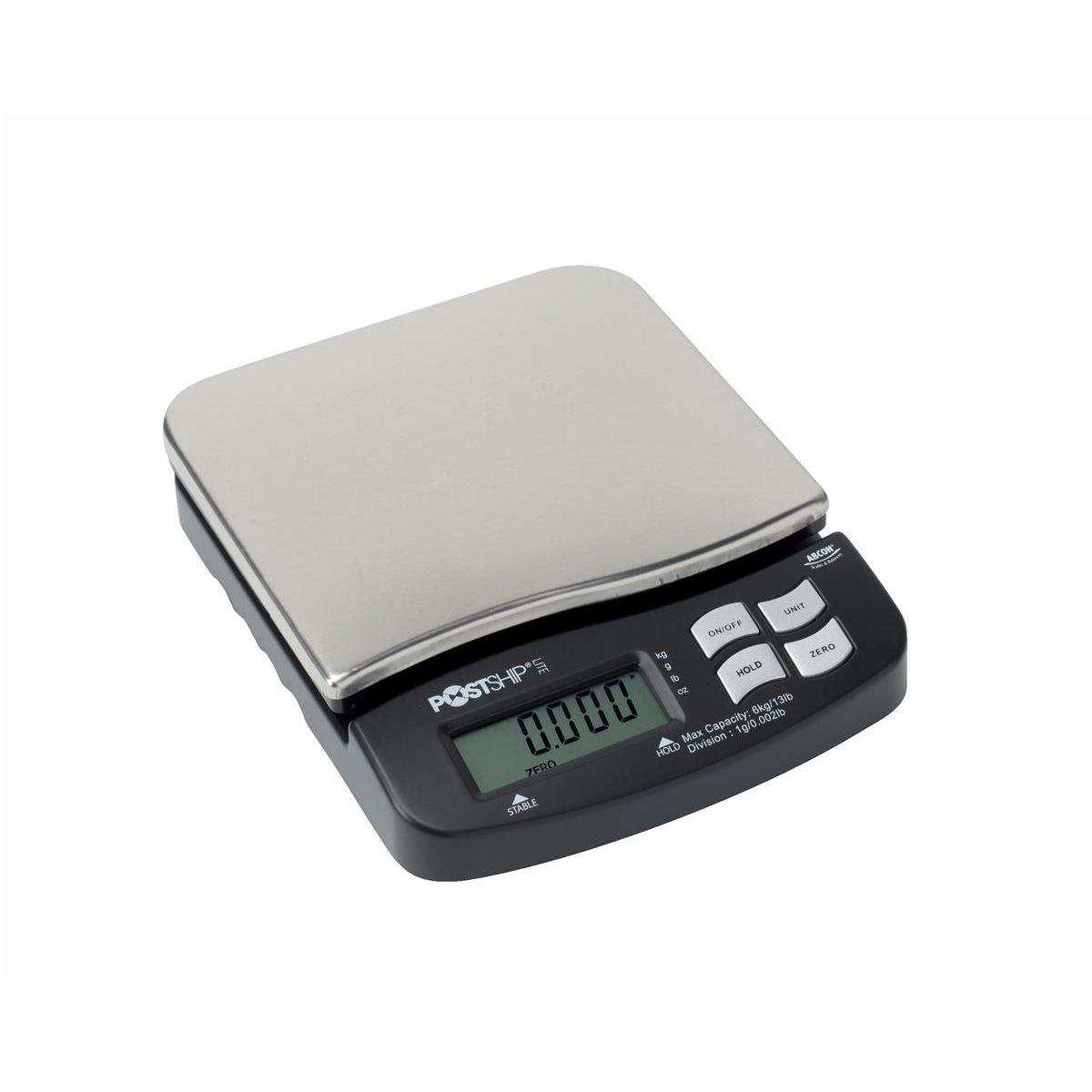 Postship Lite Scale 1g Increments Capacity 6kg Display Chrome and Black Ref PSL60