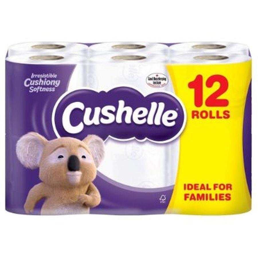 Cushelle Toilet Rolls 2-Ply 180 Sheets 120x104.5mm 21.6m White Ref 1102089 [Pack 9 Plus 3 FREE]