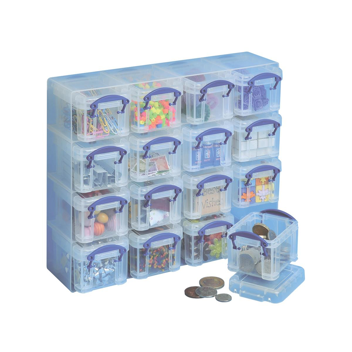 Image for Really Useful Organiser Set Polypropylene 16x0.14L Boxes and Tray W224xD280xH65mm Clear Ref 0.14x16CORG