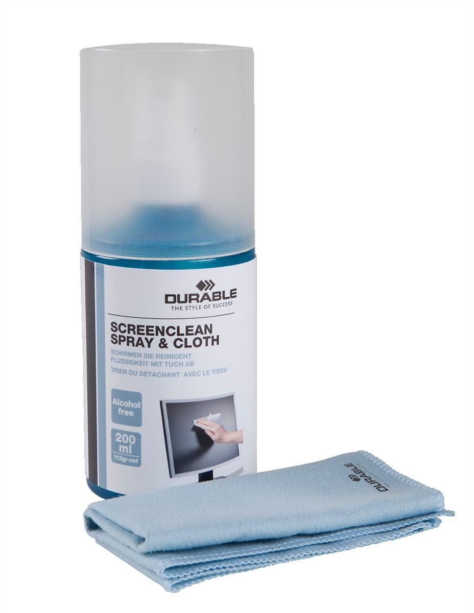 DURABLE Screenclean Spray 200ml Screen Clean Fluid With Cleaning Cloth