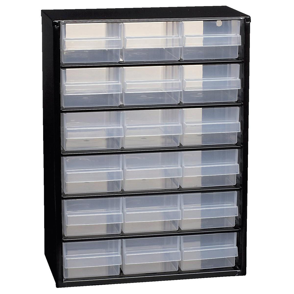 Image for Raaco Steel Cabinet 18 Polypropylene Drawers Black Ref 132022