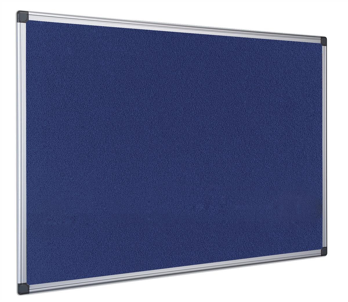 Bi-Office Notice Board Fire Retardant Fabric Alumimium Frame W900xH600mm Blue Ref SA0301170