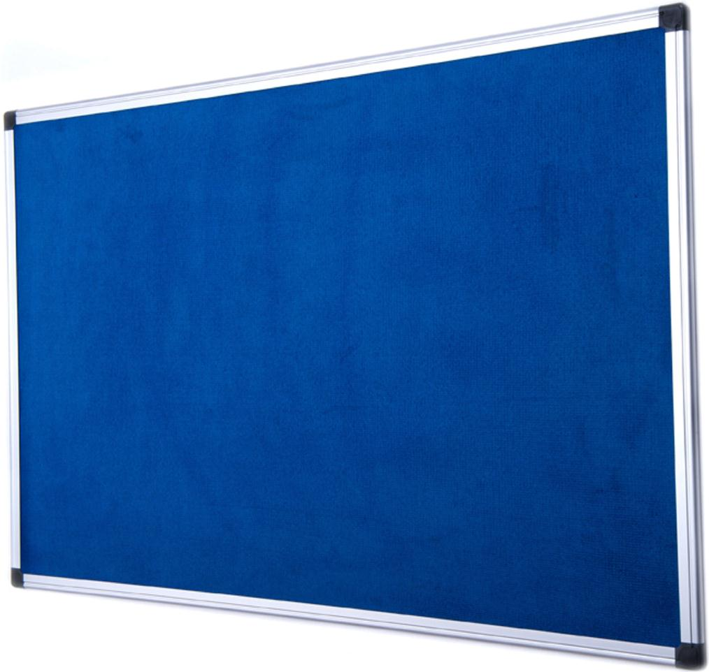 Bi-Office Notice Board Fire Retardant Fabric Aluminium Frame W1200xH900mm Blue Ref SA0501170