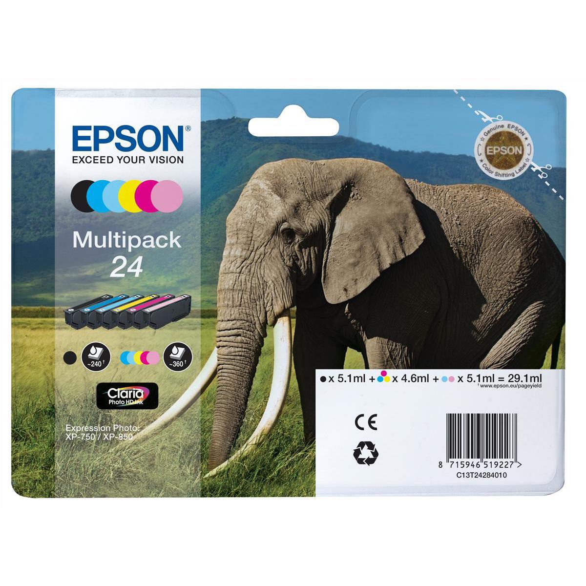 Epson24 IJCartElep HY Blk5.1ml/Cyan4.6ml/Mag4.6ml/Yel4.6ml /L/Cyan5.1ml /L/Mag5.1ml RefT24284010 [Pack 6]