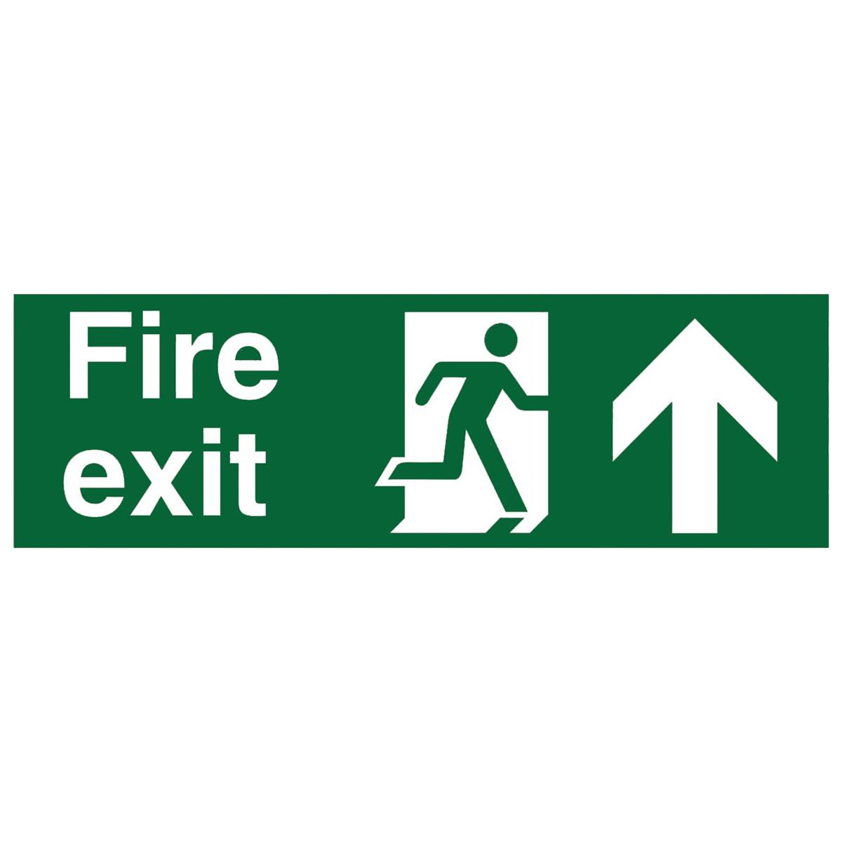 Fire Exit Arrow Up 450x150mm SP129SAV