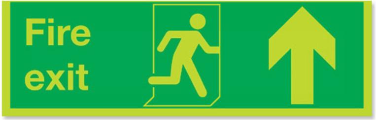 Stewart Superior Fire Exit Sign Arrow Up 450x150mm Code SP129PP