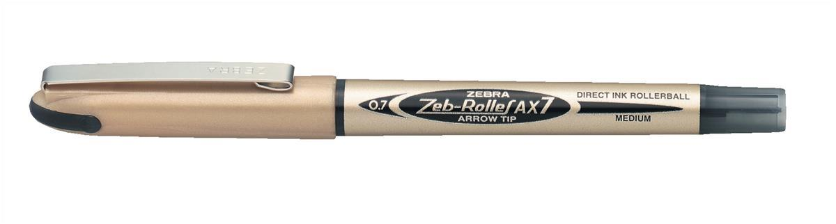 Image for Zebra AX7 Rollerball Liquid Ink Pen Medium Black Pack 10 Code 15991