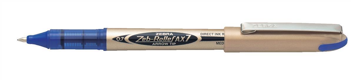 Zebra AX7 Rollerball Liquid Ink Pen Medium Blue Pack 10 Code 15992
