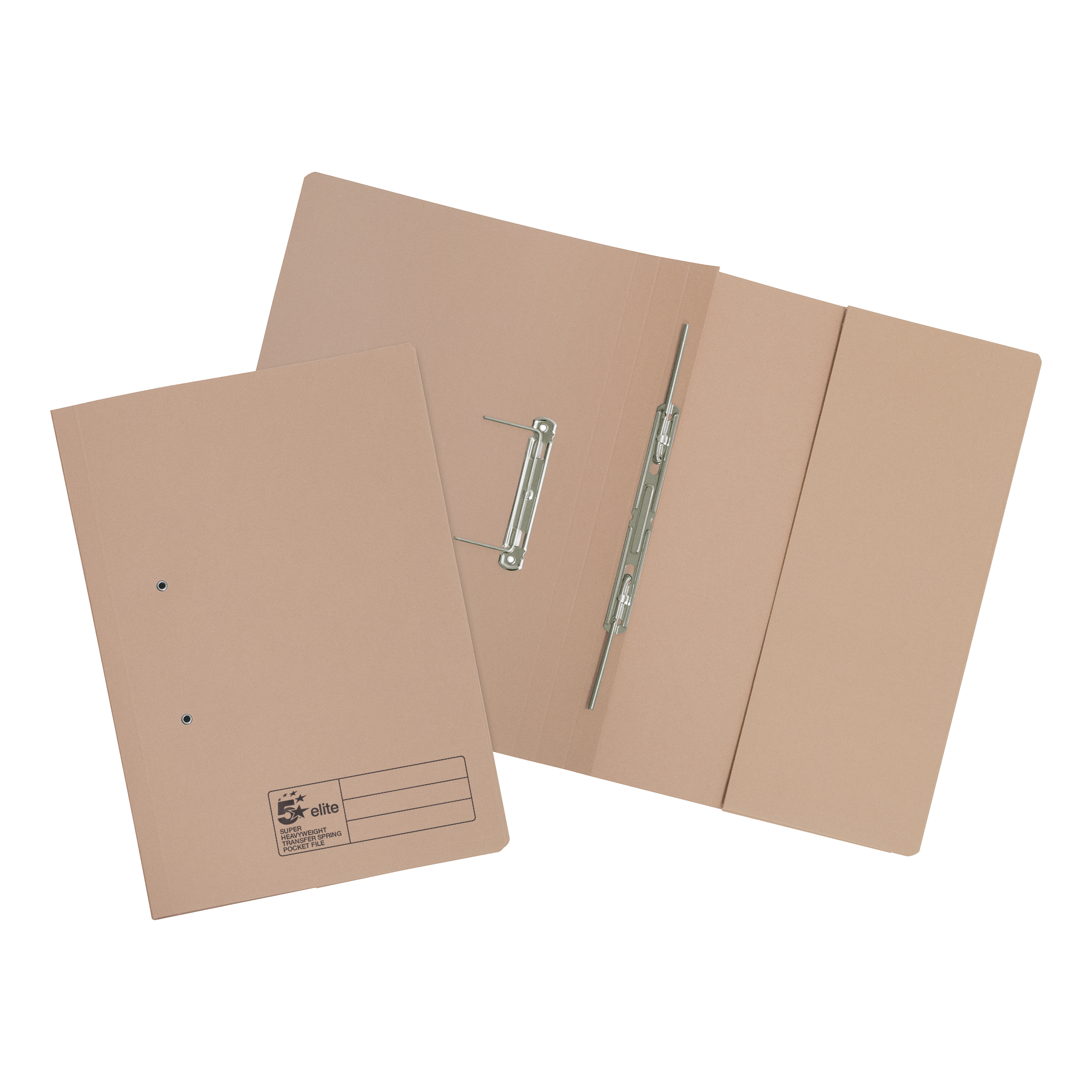 5 Star Elite Transfer Spring Pocket File Super Heavyweight 380gsm Foolscap Buff [Pack 25]
