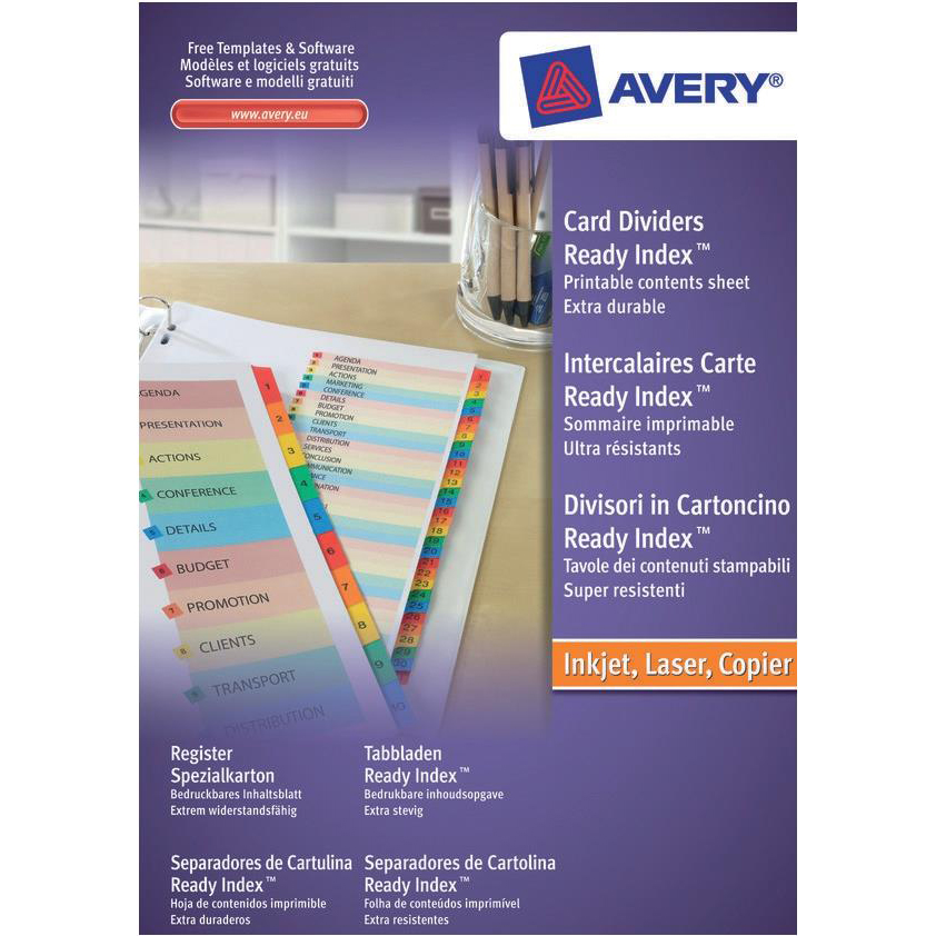 Avery ReadyIndex 1-20 Punched Mylar-reinforced Multicolour-Tabs 200gsm A4 White Ref 01966501