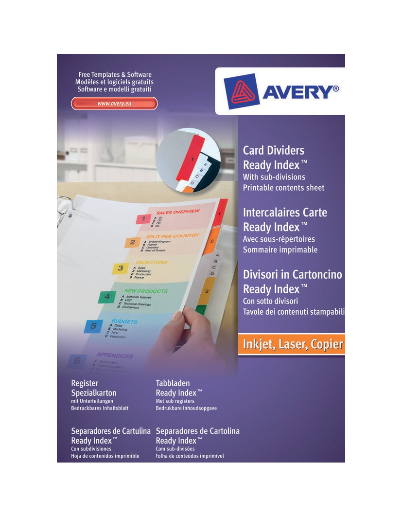 Avery ReadyIndex 1-10 Index Extra Wide Dividerd s-10 Index Code 05065501