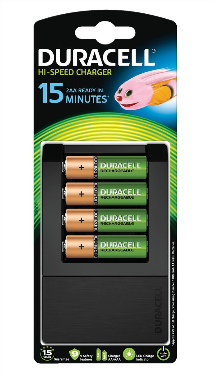 Image for Duracell 15 Minute Battery Charger with 4x AA Batteries (Pack of 1) 81362490