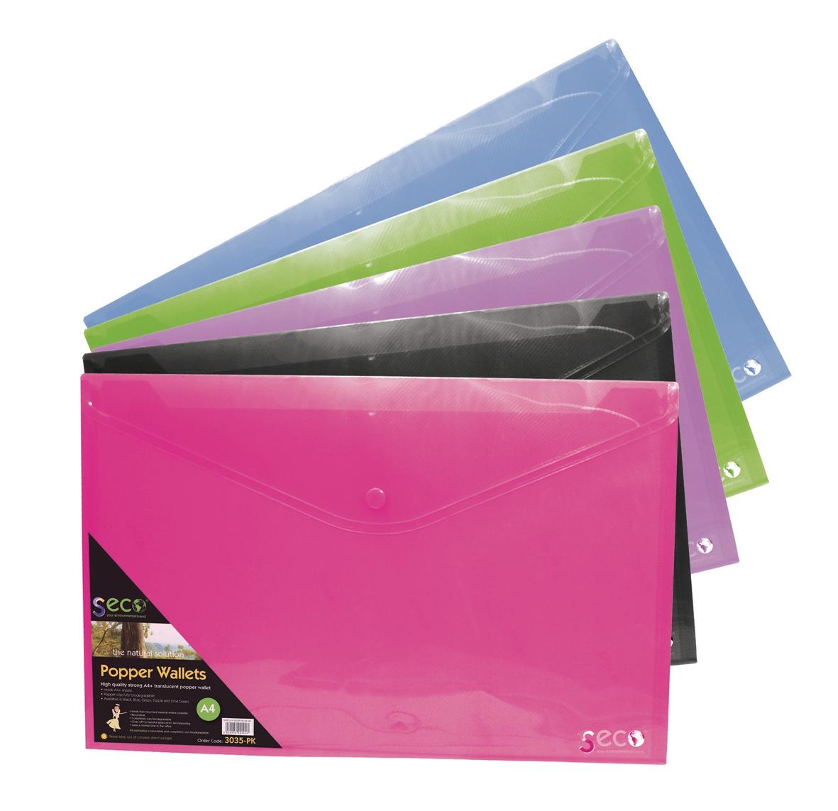 Stewart Superior A4 Popper Wallet Landscape Assorted Pack 5 PPLSA4-AST