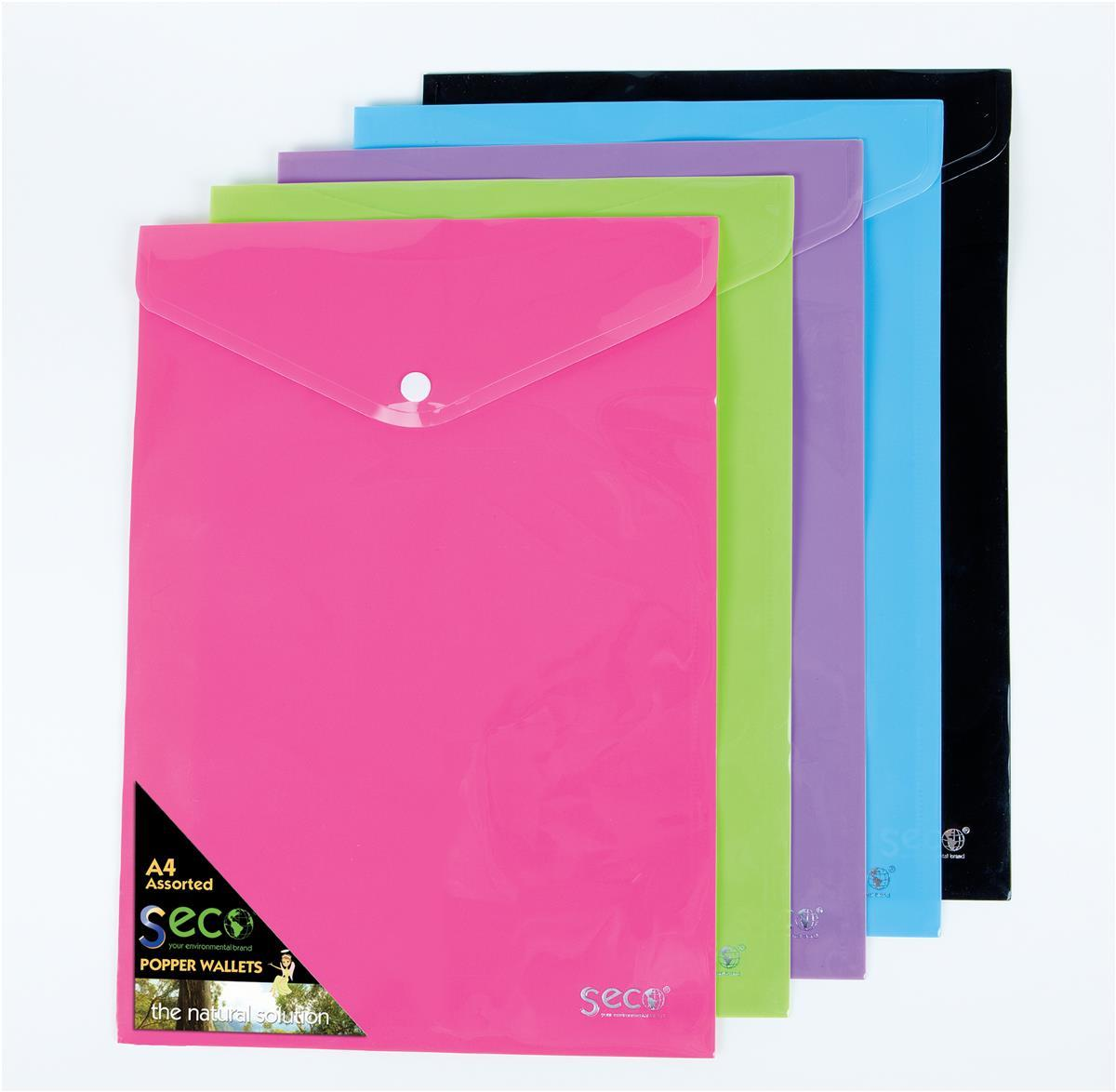 SSeco Oxo-biodegradable Polypropylene Wallet A4 Portrait Assorted Ref PPTA4-AST [Pack 5]
